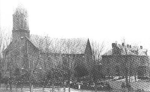 Church and congregation in 1896. (27068 bytes)